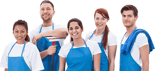 two men and three women wearing blue apron and holding mop and rag in hand