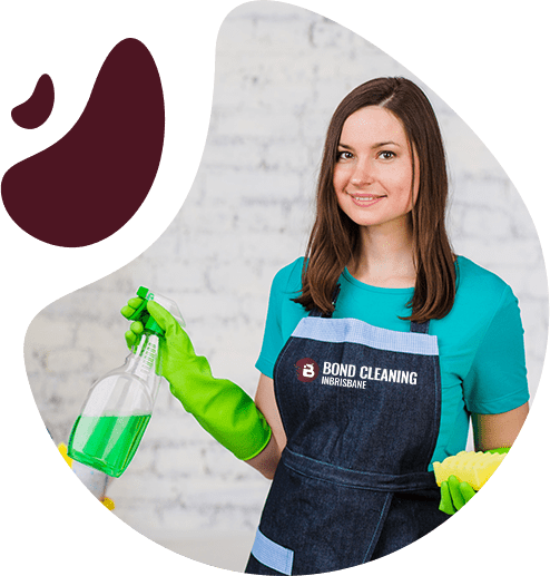 beautiful young woman wiping the wall to remove dust